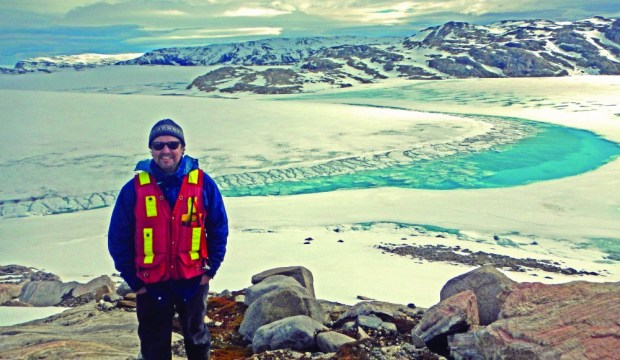 Don Cummings at the Chidliak kimberlite field region, Hall Peninsula, Baffin Island.