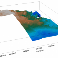 3D image of the proposed surface for the Chan Lake aeromagnetic survey. Credit: NTGS.