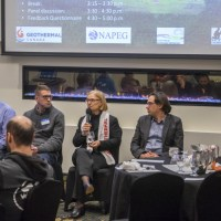 An expert panel at the 2018 Geothermal Workshop in Yellowknife. From right to left: Dr. Maurice Dusseault, Dr. Jasmin Raymond, Dr. Catherine Hickson, Dr. Grant Ferguson, and Dr. Steven Grasby. Credit: Terlaky.