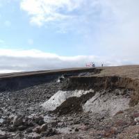 Scientists working on headwall of slump