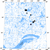 Location of EM survey blocks in the central Slave craton area, Northwest Territories (Covering parts of NTS map sheets 75M, N, and 76D)