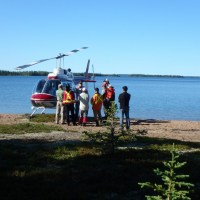 Geologists often use a helicopter to map the geology in remote areas of the Northwest Territories.