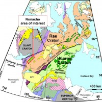 The Nonacho study area is located southeast of Great Slave Lake in the Rae Craton of the Canadian Shield.
