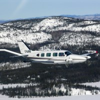 A C-GJBG aircraft was used for the Chan Lake aeromagnetic survey.  This photo of a C-GJBG was taken by Goldak.