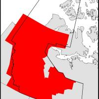 The red shading indicates the current coverage of the geological compilation for the NWT. Credit: NTGS.