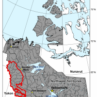 Location of the study area (red outline) within the Northwest Territories. Credit: NTGS.