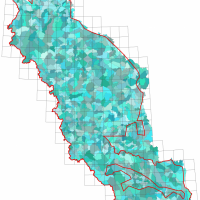 The fourth order watershed boundaries within the study area (red outline). Credit: NTGS.