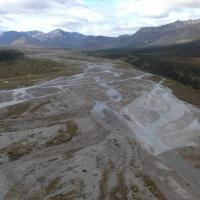 Braided stream in the Mackenzie Mountains