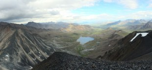 Looking east at Cirque Lake from the top of Mount Allan, below which the tungsten mineralization is found.