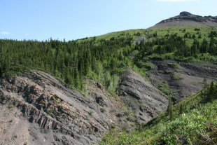 Carboniferous age Golata Formation shales and siltstones at Etanda Lakes NWT. Credit: Kathryn Fiess, NTGS