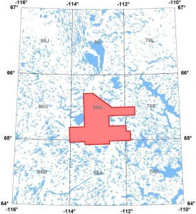 Location of aeromagnetic survey block in the Itchen Lake-Point Lake area, Northwest Territories.