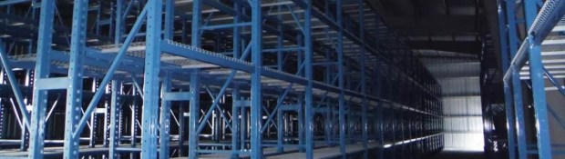Empty racks in the Geological Materials Storage Facility in Yellowknife, NWT. (Credit: NTGS)