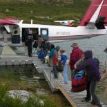 Unpacking - Daring Lake Tundra Science Camp. Credit NTGS